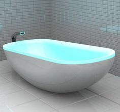 Glowing bathtub changes color to the beats of music