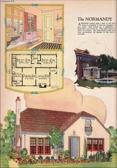 """1925 Radford - Normandy - American Builder """"A French cottage with a dash of old world charm is presented in this cozy bungalow of five rooms. Vintage House Plans, Country House Plans, Small House Plans, House Floor Plans, Vintage Homes, Home Design, Cottages And Bungalows, 1920s House, Residential Architecture"""