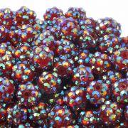 10mm Resin Rhinestone Beads - Red AB
