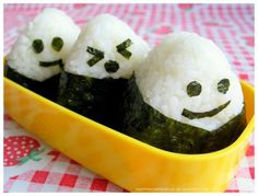 While the ones I get from the store don't have faces, I really love onigiri from uwajimaya.