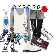 Cyborg from Teen Titans Teen Titans Cosplay, Teen Titans Outfits, Teen Titans Go, Disney Bound Outfits, Disney Inspired Outfits, Themed Outfits, Disneyland Outfits, Disney Dresses, Disney Style