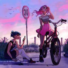 Power couple —Ilse Harting - Experimental illustration I worked on the past. Cartoon Kunst, Cartoon Art, Cartoon Girls, Anime Girls, Pretty Art, Cute Art, Character Inspiration, Character Art, Bel Art