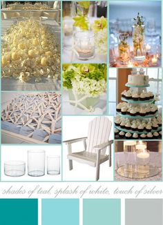 Beach wedding color inspiration...like everything but the cupcake tower