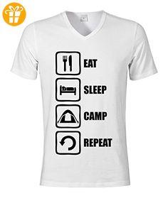 Eat Sleep Camp Repeat Funny Black Graphic Design Men's V-Neck T-shirt XX-Large (*Partner-Link)