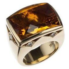 Stephen Webster Citrine and Diamond 18 Karat Yellow Gold Ring