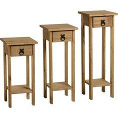 Seconique Original Corona Pine Set of 3 Plant Stands