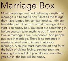 Marriage Box-I couldn't have said it better myself.