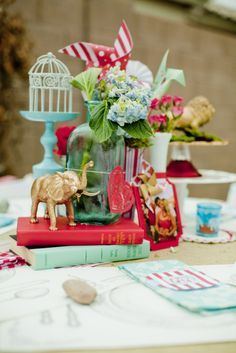 {circus themed wedding centrepiece} so freakin' cute! I'll spray paint all the tiny animals for you