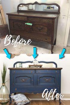 Diy Furniture Renovation, Refurbished Furniture, Paint Furniture, Repurposed Furniture, Furniture Projects, Furniture Makeover, Vintage Furniture, Blue Painted Furniture, Painted Buffet