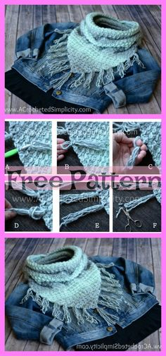 Crochet Cowl Free Pattern, Chunky Knitting Patterns, Mittens Pattern, Knit Crochet, Crochet Patterns, Crochet Scarfs, Crochet Ideas, Crochet Projects, Free Crochet