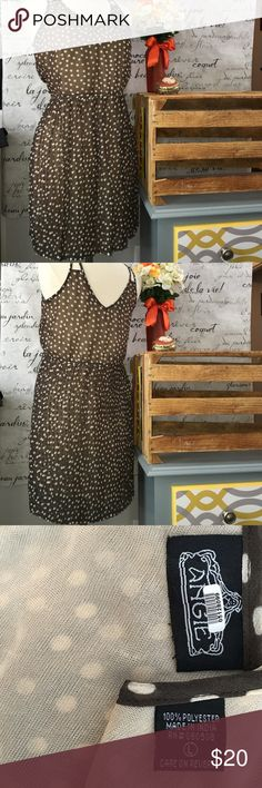 Brown & cream polka dot knee length dress Very feminine and romantic, brown and cream polka dot dress. Polyester fabric. Top layer is sheer. In perfect condition. Angie Dresses Midi