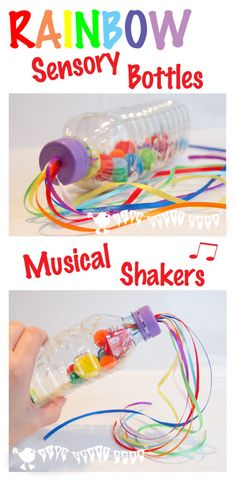 Make bright and colourful Rainbow Sensory Play Bottles. An adaptable sensory play activity and musical instrument too. Great fun for all ages.