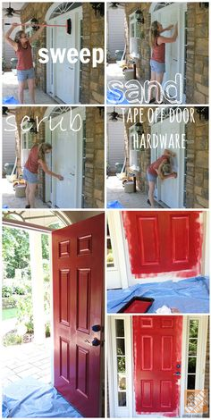 We love the way a fresh coat of paint can totally transform a front door. Sandra of Pendle Pendle Pendle Powell {Sawdust Girl} shows us how it's done! Look up on home depot Painted Front Doors, Front Door Painting, Metal Doors, Diy Home Repair, Home Repairs, Reno, Porch Decorating, Decorating Ideas, Decor Ideas