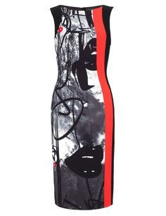 Black Graffiti Print Pencil Dress | Giles | Avenue32