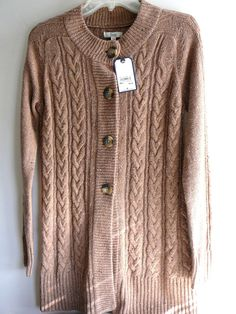 G. H. Bass S Cocoa Heather Brown X-Long Cotton Cardigan, Oversized Buttons NWT #Bass #Cardigan I don't often find clothes with tags on them. (I don't go to thrift stores.) And this is such a snuggly sweater, the color of tea bags.
