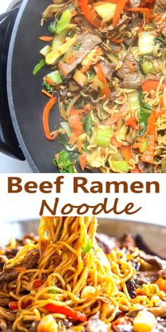 Beef Ramen Noodle Stir Fry Beef Ramen Noodle Recipe is a quick stir fry using ramen noodles, beef, and vegetables, with a savory stir fry sauce. Make this Beef Noodle Stir Fry for a quick and easy dinner tonight! Stir Fry Using Ramen Noodles, Beef Noodle Stir Fry, Beef And Noodles, Recipes With Glass Noodles, Noodle Wok, Beef Vegetable Stir Fry, Fried Noodles Recipe, Beef Noodle Soup, Chinese Recipes
