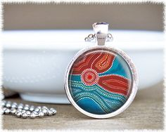 Aboriginal Glass Art Necklace  Indigenous by SuedeSentiment, $16.00