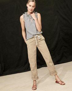 J.Crew Looks We Love: women's ruffle top in striped cotton poplin, boyfriend chino pant and strappy sandals.