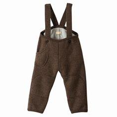 Vidunderligt varme uld vinterbukser til de små i økologisk merinould med seler og lomme. Varme og bløde. Hurtig dag-til-dag levering.