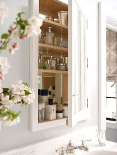 low-cost bathroom update recessed medicine cabinet