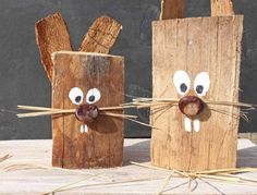 Easter bunnies made of wood - handicrafts with children # spring decorations Not only . - Easter bunnies made of wood – handicrafts with children # spring decorations You can make beautif - Diy Crafts To Do, Crafts For Teens To Make, Diy For Kids, Creative Crafts, Valentine Day Crafts, Easter Crafts, Valentines, Easter Art, Easter Traditions