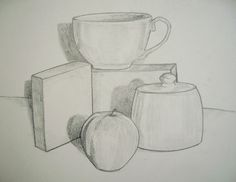 Still Life Drawing with shades and darker outlines. Composing set up Still Life Sketch, Still Life Drawing, Still Life Art, Teaching Drawing, Drawing Lessons, Teaching Art, Still Life Pictures, Pictures To Draw, 8th Grade Art
