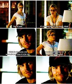 Felicity & Oliver #Arrow << Felicity, making Oliver smile and happy when his life is miserable since before she met him :D