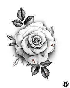Rose Flower Tattoos, Flower Tattoo Designs, Tatoo Rose, Tattoo Floral, Tattoo Flowers, Body Art Tattoos, Hand Tattoos, Sleeve Tattoos, Rose Drawing Tattoo