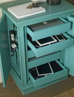 e-charge center with ports for charging five devices and shallow, felt-lined drawers so they won't be scratched | hooker furniture