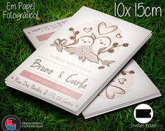 Convite Casamento Pássaros Vintage 10x15