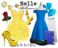 Formal Belle: Dress, $176.99 ; Shoes, $33 ; Gloves, $9.95 ; Rose, $3.18 ; Earrings, $35 Peasant Belle: Dress, $109.99 ; Apron, $14.99 ; Shoes, $43.98 ; Book clutch, $43.98 ; Bow, $3.49 Costumes...