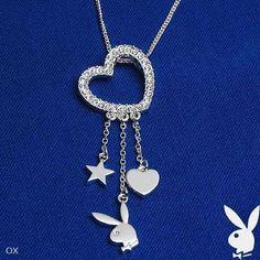 Playboy Necklace Swarovski Crystal Open Heart Pendant Bunny Logo Star Charms NOS #Playboy #Pendant