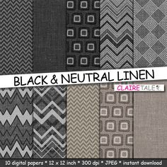 """Buy Linen digital paper: """"BLACK & NEUTRAL LINEN"""" with chevrons and geometric patterns in beige and black for scrapbooking by clairetale. Explore more products on http://clairetale.etsy.com"""