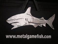 Mako shark metal game fish art sculpture..  Hand drawn and plasma cut aluminum art.   Www.metalgamefish.com