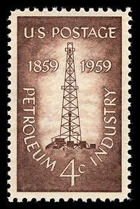 This stamp honors all who work in the petroleum industry. It marked the 100th anniversary of the completion of the first oil well by Colonel Edwin L. Drake.