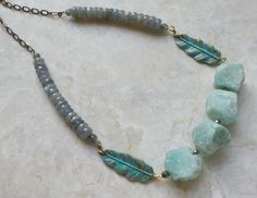 Labradorite, Amazonite Crystal Statement Necklace - Leaf and Gemstone Beaded Choker - Hand Painted Leaves w/ Rough, Raw Crystal Beads