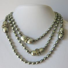 "Vtg Signed Miriam Haskell Grey Baroque Pearl Glass Rhinestone Long 52"" Necklace 