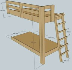 bunk bed plans | rework these for a loft bed and move the ladder