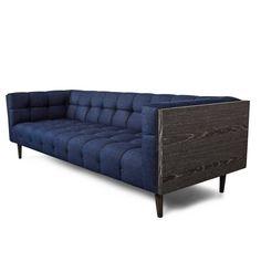 Mid-Century Sofa with Wood Frame and Tufted Dark Navy Denim Fabric 2