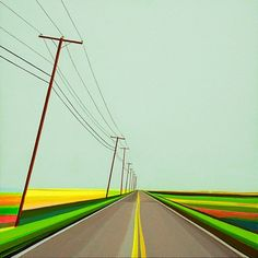 """Grant Haffner """"Napeague Meadow Lane"""" Acrylic and graphite on wood panel, 2013 36 x 36 Signed, titled and dated verso Seascape Paintings, Landscape Paintings, American Art, American History, Artist Grants, Watercolor Artists, Art Lesson Plans, Artist At Work, Art Lessons"""