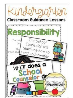 A year of Kindergarten classroom guidance lessons for the school counselor. Covers character education topics such as kindness, growth mindset, respect, responsibility, and more! Elementary School Counselor, High School Classroom, Kindergarten Classroom, Education Humor, Character Education, Physical Education, Responsibility Lessons, Social Skills For Kids, Social Work