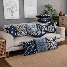 Load image into Gallery viewer, Cushion Covers - Navy Cotton - White Embroidery LOLA DOO New cushions covers for a new look Cushions can work wonders. They add so much softness and comfort, while the colours and patterns add atmosphere and. Blue Cushion Covers, Pillow Covers, Cushion Cover Designs, Blue Cushions, Cushions On Sofa, Pillows For Couch, Modern Cushions, Owl Pillows, Bedroom Decor
