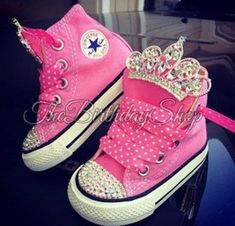 Pink Princess first birthday converse, pink Swarovski Crystal Embellished Converse Baby Converse, Kids Converse Shoes, Converse All Star, Bling Converse, Bling Shoes, My Baby Girl, Baby Girl Shoes, Baby Kind, Girls Shoes