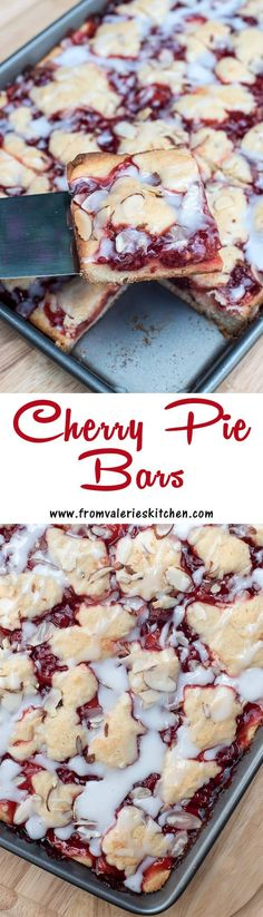 These pretty bars are quick and easy to make and include ingredients you can eas… These pretty bars are quick and easy to make and include ingredients you can easily keep stocked in your pantry.fromvaleriesk… – Cocktails and Pretty Drinks Cherry Desserts, Cherry Recipes, Easy Desserts, Delicious Desserts, Yummy Food, Barres Dessert, Fudge, Cherry Pie Bars, Cookie Recipes