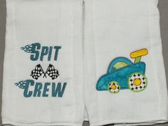 Baby Racing car burp cloth set 2 by 4my4creations on Etsy, $10.00