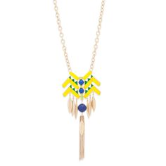 """Strut your stuff and make a statement in the tribal-inspired Charlotte necklace. Bold and on-trend, Charlotte's design is brimming with detail, including cobalt stones, green enamel, gold tassels and leaf accents. This vibrant piece is all the summer statement you'll need!   - Gold tone metal, resin, enamel - 29"""" long, 2"""" extender, 6"""" pendant - Lobster clasp closure"""