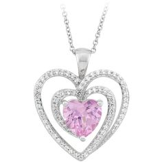 Created Pink Sapphire Heart Necklace in Sterling Silver ($165) ❤ liked on Polyvore featuring jewelry and necklaces