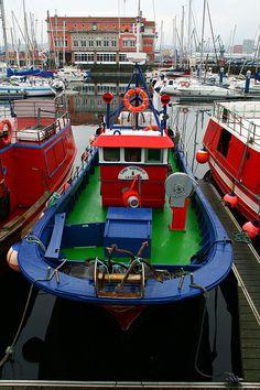 Colorfully painted fishing boat, A Coruna, Northern Spain