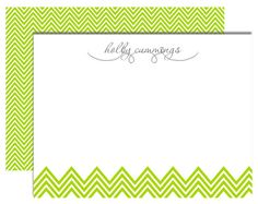 Write a special note with this sweet lime green chevron striped note card.