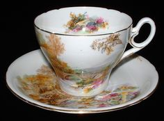 Shelley Heather Cup and Saucer Old Cambridge England Landscape Ring Handle